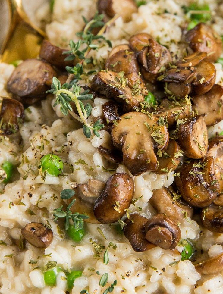 Mushroom Risotto Recipe with onion, garlic, and peas. Dairy-free healthy side dish