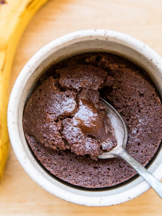 Paleo Banana Chocolate Mug Cake - grain-free, dairy-free, oil-free, delicious single-serve dessert recipe