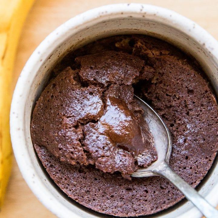 Paleo Banana Chocolate Mug Cake - grain-free, dairy-free, oil-free, delicious single-serve dessert recipe