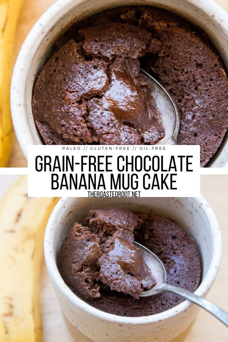Grain-Free Chocolate Banana Mug Cake with only 5 basic ingredients - gluten-free, oil-free, refined sugar-free healthy single-serve dessert recipe