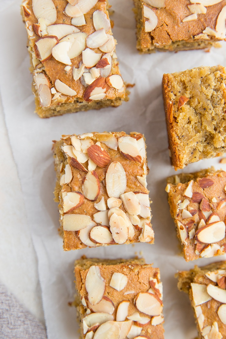 Grain-Free Lemon Poppy Seed Blondies - healthy blondies recipe made with almond flour
