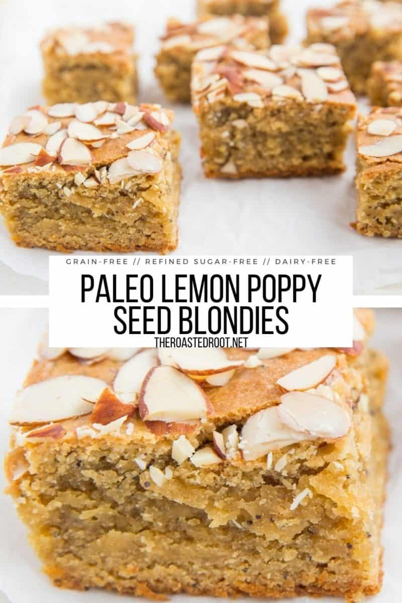 Grain-Free Lemon Poppy Seed Blondies made dairy-free, refined sugar-free and paleo friendly