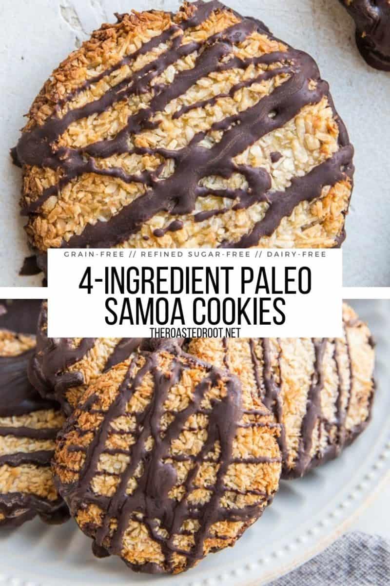 Paleo Samoa Cookies - only 4 ingredients needed! Grain-free, refined sugar-free, dairy-free, gluten-free healthy dessert recipe!