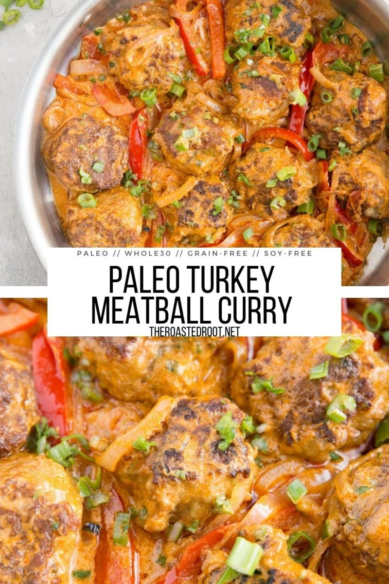 Paleo Turkey Meatball Curry - delicious turkey meatballs in Thai Red Curry Sauce makes for an amazingly flavorful meal!