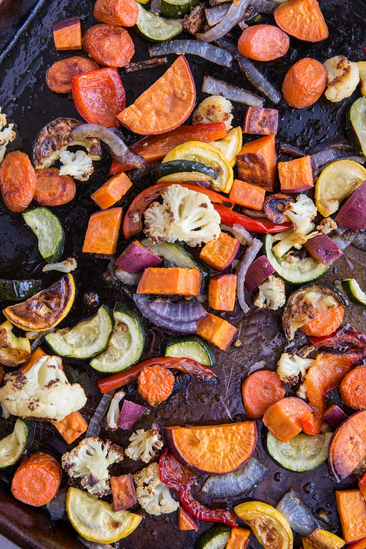 Roasted vegetables on a baking sheet