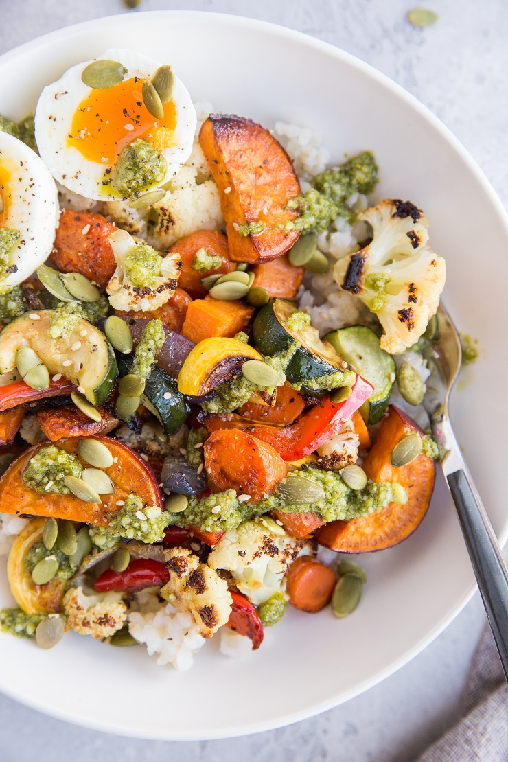 Roasted Vegetable Rice Bowls with Jammy Egg and Pesto