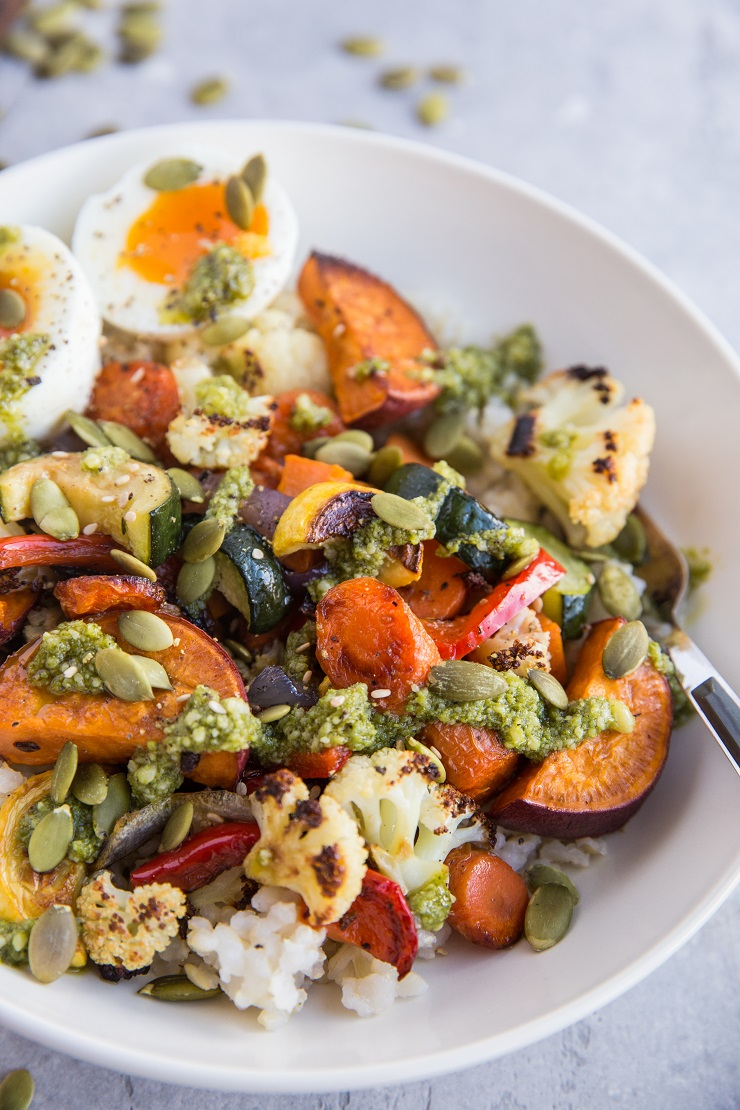 Roasted Vegetable Rice Bowls with Jammy Egg and Pesto - vegetarian, healthy, delicious macronutrient bowl