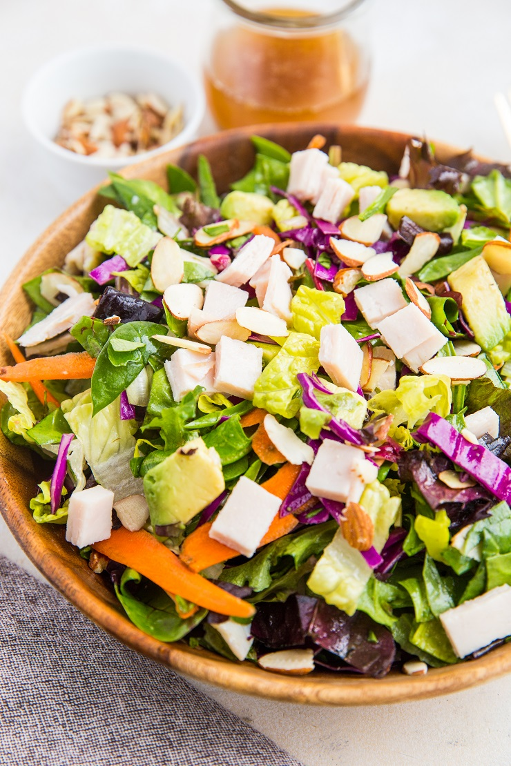Turkey Avocado Chopped Salad with Sesame Ginger Dressing and sliced almonds - an easy, healthy filling salad recipe