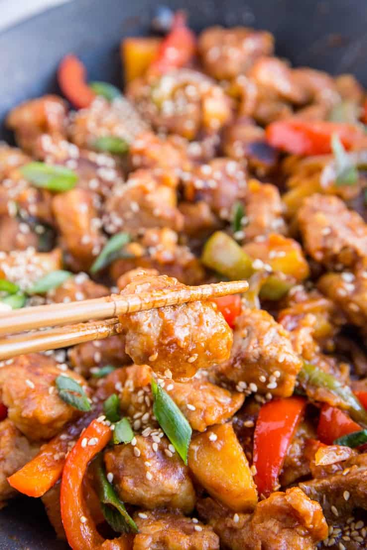 Sweet and Sour Pork - gluten-free sweet and sour pork recipe that is healthier than takeout. A delicious dinner recipe that can be made any night of the week!