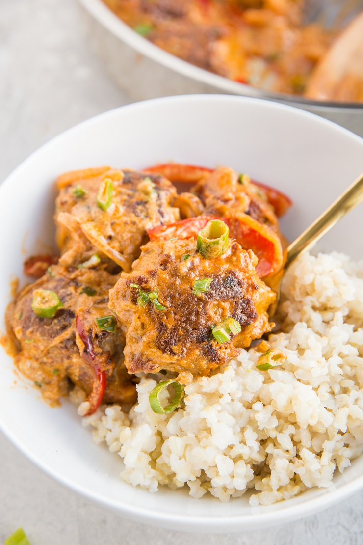 Thai Meatball Red Curry - Turkey meatballs in amazing coconut milk red curry sauce