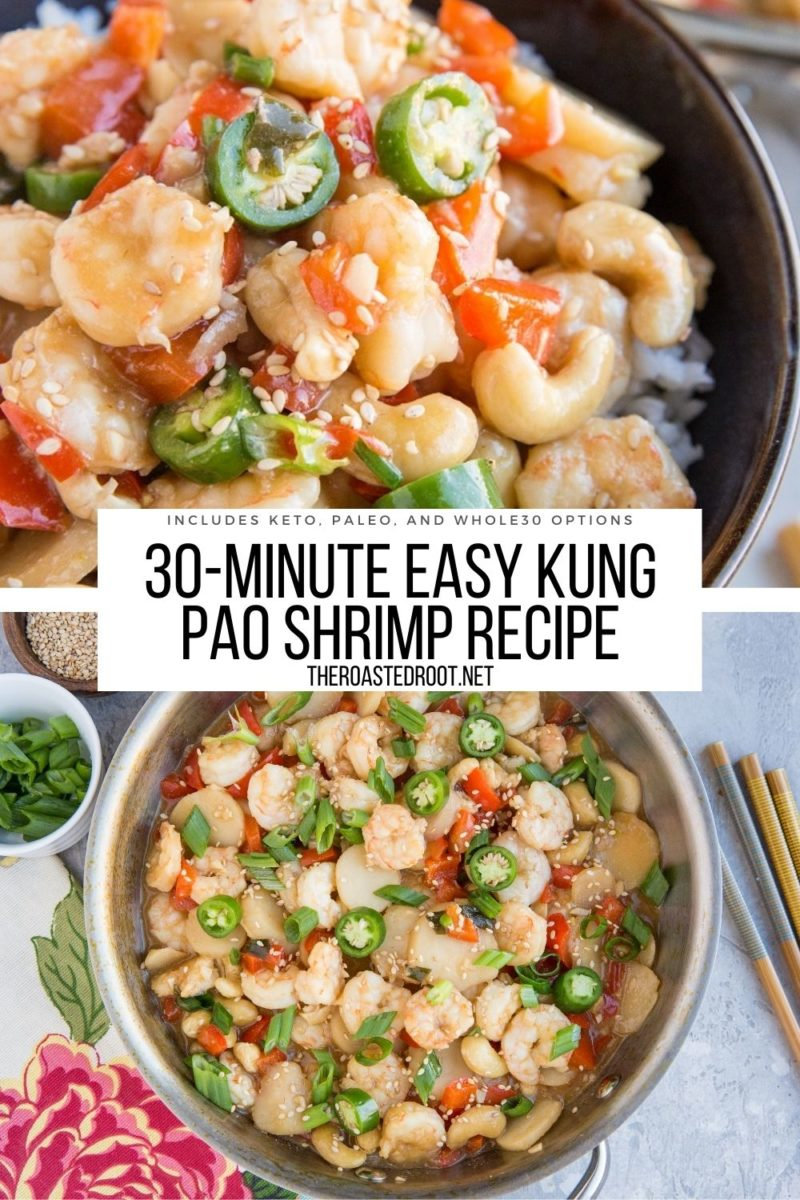Quick, easy, healthy 30-minute Kung Pao Shrimp Recipe with options for paleo, keto, and Whole30! This recipe requires few ingredients and makes an amazing healthy dinner