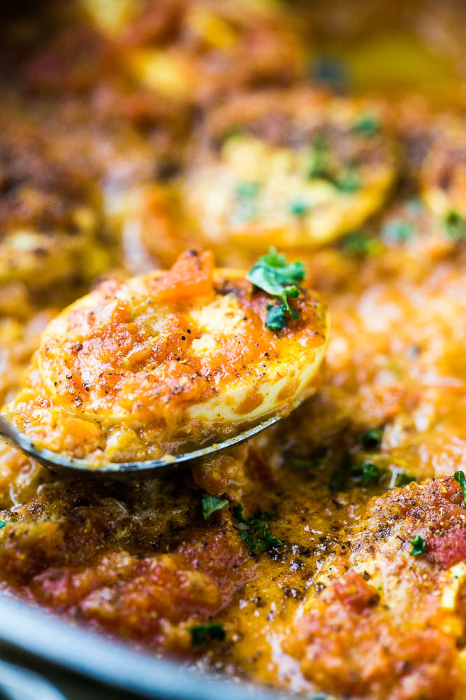 Egg Curry Recipe - a meatless vegetarian curry with eggs for protein