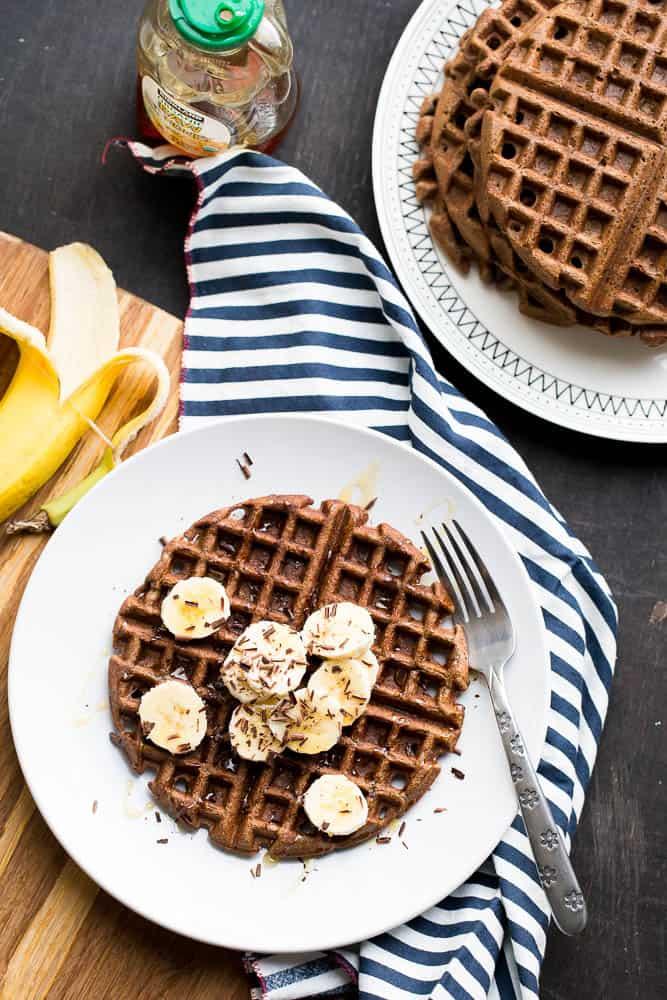 Paleo Chocolate Banana Protein Waffles