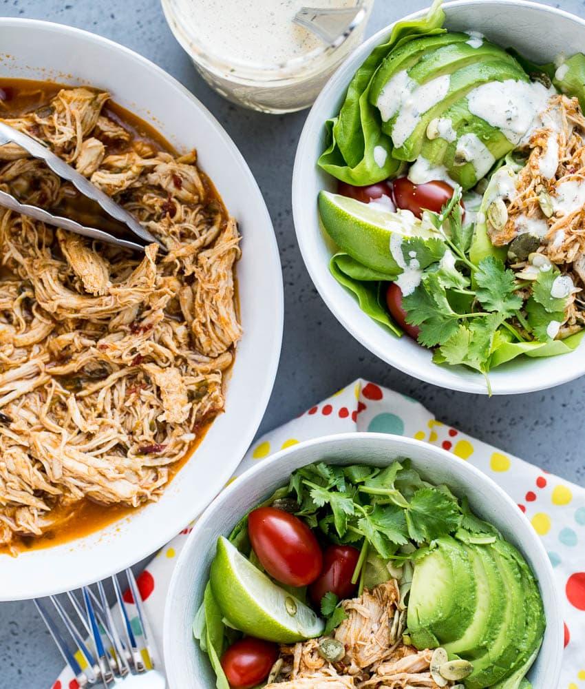 Instant Pot Shredded Chicken Taco Salads