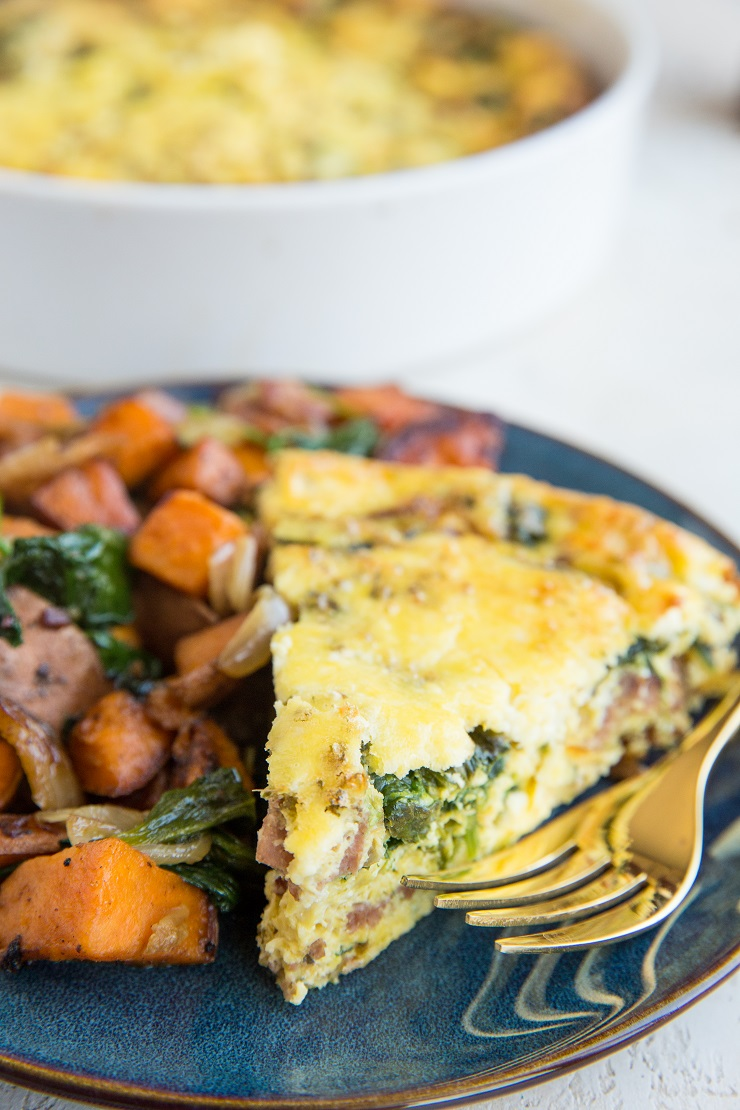 Crustless Spinach Quiche with bacon, onions, and feta cheese. A delicious breakfast or brunch recipe
