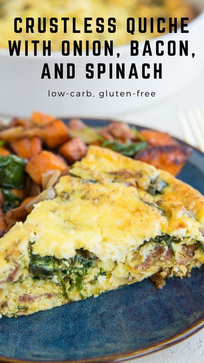Crustless Quiche Recipe with spinach, bacon, onions, and feta cheese - an easy, delicious breakfast or brunch recipe perfect for sharing. Low-carb and keto!