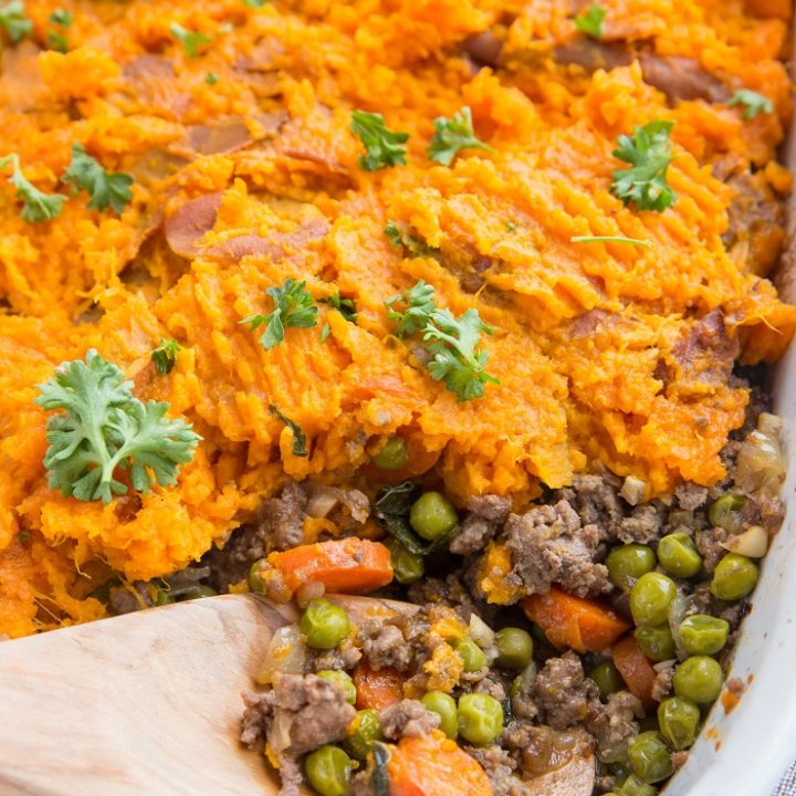 Easy Shepherd's Pie with Sweet Potatoes - a goof-proof recipe that comes together quickly and easily!