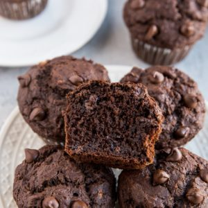 Double Chocolate Gluten-Free Banana Muffins - dairy-free, refined sugar-free, moist and delicious muffins