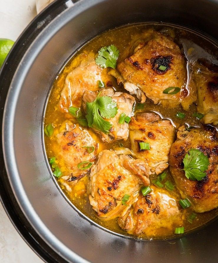 Pressure Cooker Jamaican Jerk Chicken - Caribbean chicken recipe with garlic, ginger, and liquid aminos