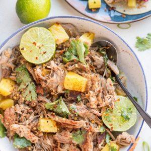Pineapple Pork Carnitas - shredded pork made in the Instant pot with pineapple