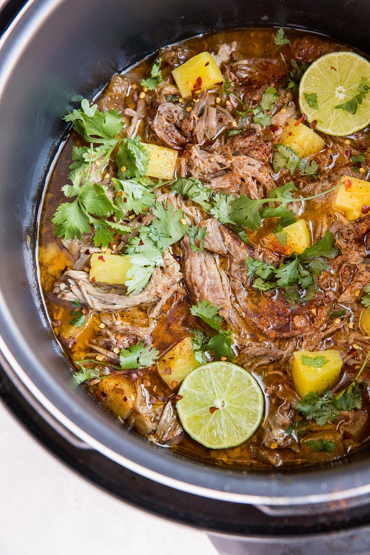 Instant Pot Pineapple Pulled Pork - an easy recipe for the most amazing tender shredded pork carnitas