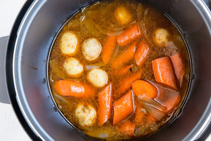 Cooked potatoes and carrots in the instant pot