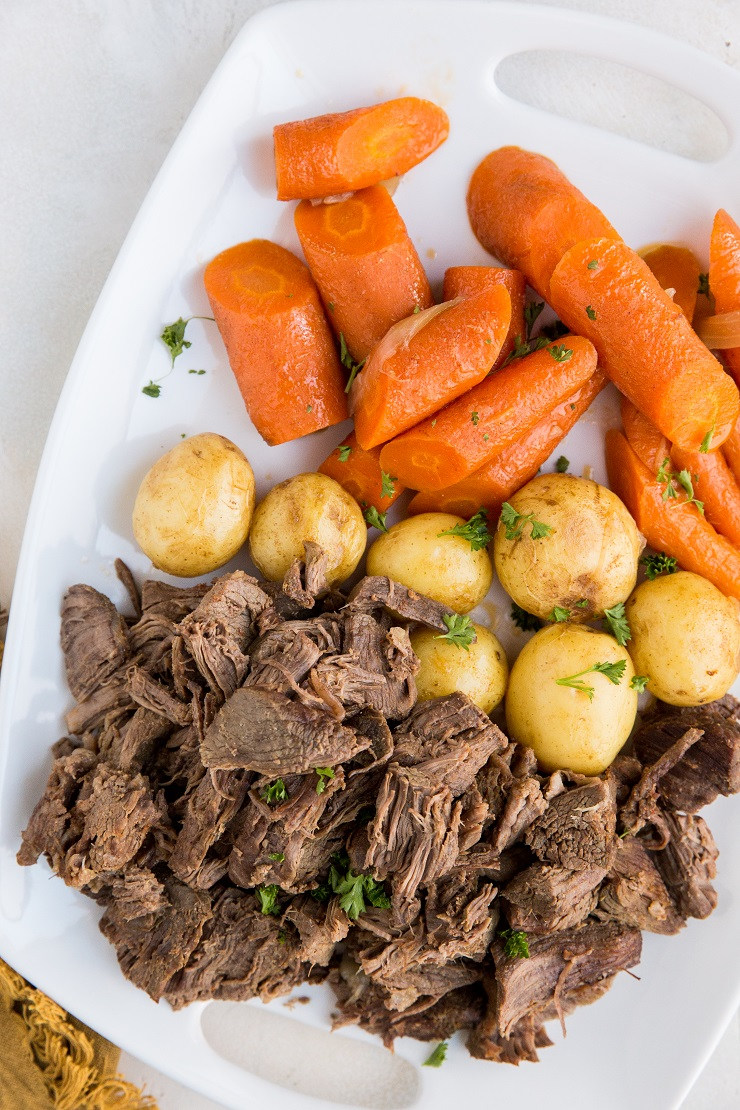Easy Pot Roast made in the pressure cooker. A goof-proof method of cooking beef that turns out super tender