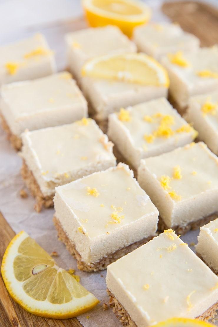 Low-Carb No-Bake Lemon Cheesecake Bars - keto lemon cheesecake bars made dairy-free, grain-free and sugar-free