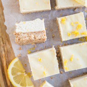 Keto Lemon Cheesecake Bars - no-bake lemon bars made dairy-free, grain-free and sugar-free. A low-carb dessert recipe!