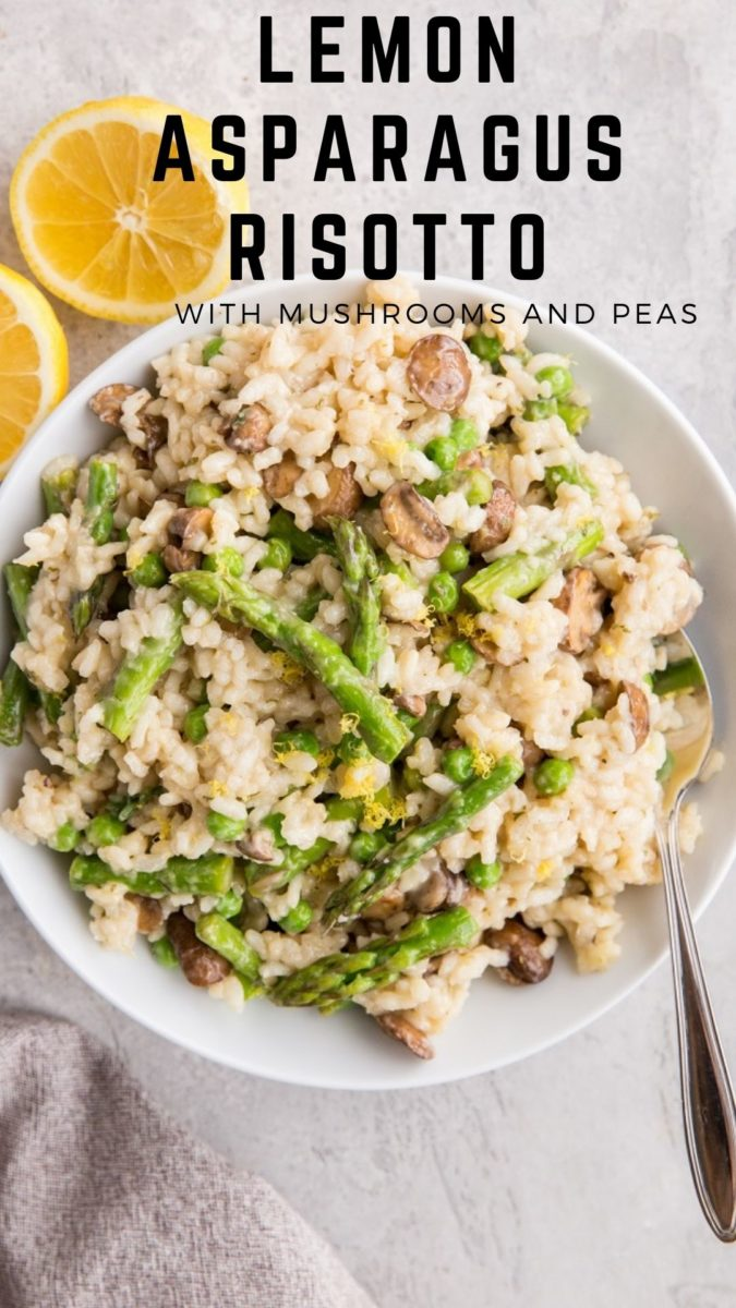 Mushroom Lemon Asparagus Risotto Recipe with peas, onions and garlic. An amazing, flavorful side dish, perfect for any meal!