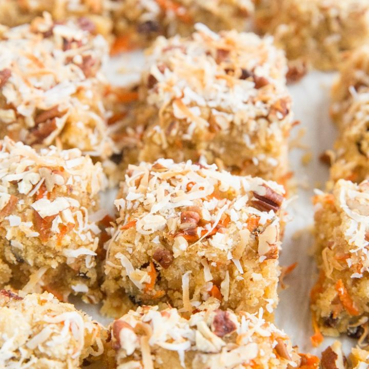 Paleo Carrot Cake Blondies made with 9 basic ingredients. Grain-free, refined sugar-free, easy to make, delicious healthier dessert recipe!