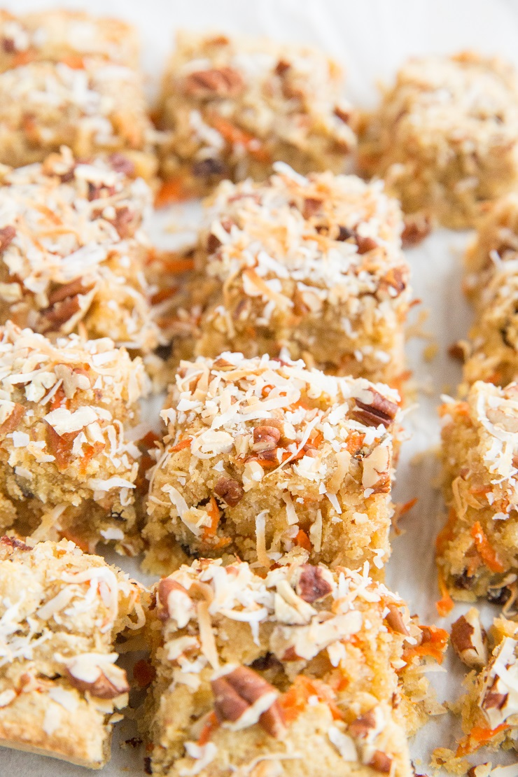 Grain-free healthy Carrot Cake Blondies made with 9 basic ingredients. Easy, paleo, delicious healthy dessert recipe.