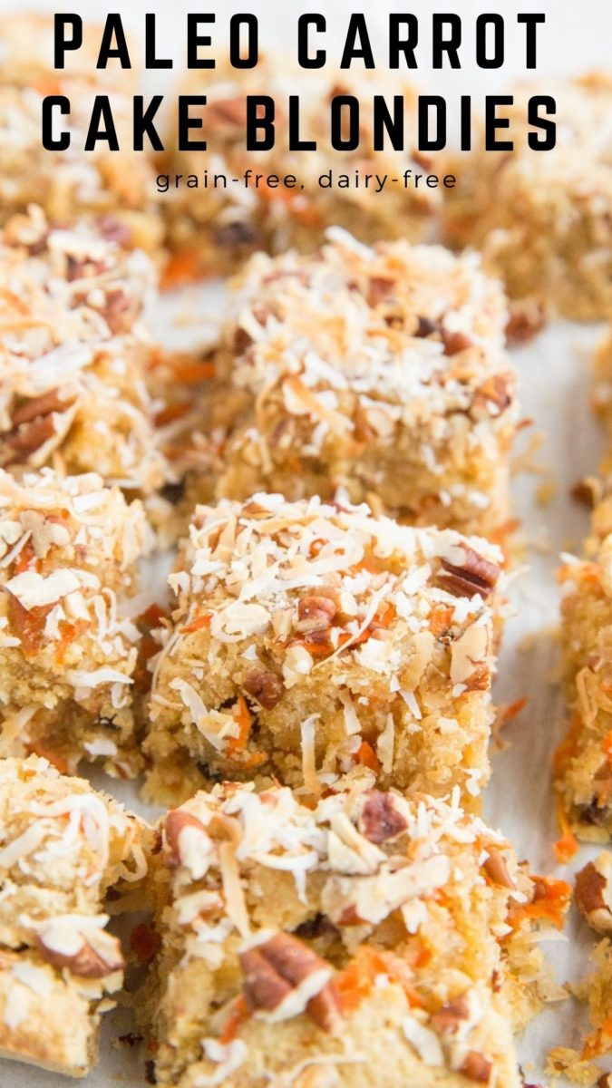 Paleo Carrot Cake Blondies - a grain-free blondies recipe with carrot cake ingredients for a fun cookie bar - gluten-free, dairy-free, refined sugar-free