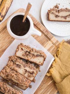 Grain-Free Cinnamon Swirl Banana Bread made paleo-friendly with almond flour and pure maple syrup.