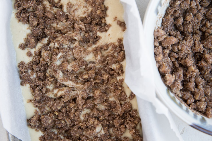 Pour half the batter in a loaf pan followed by half of the topping. Repeat with remaining batter and topping