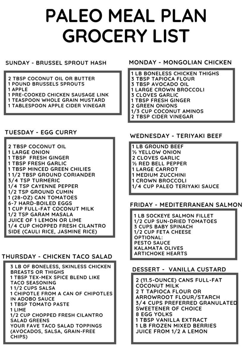 Paleo Meal Plan Grocery List for Week 9