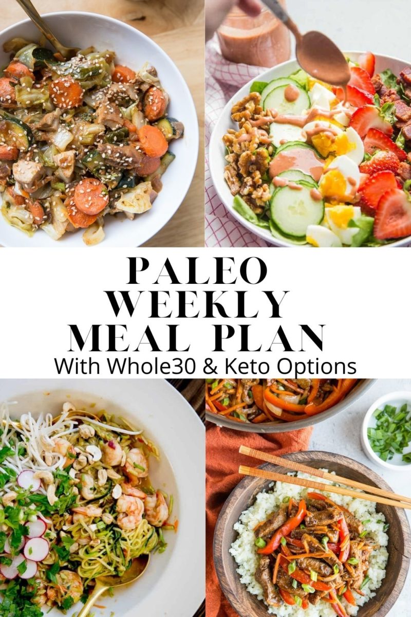 Paleo Weekly Meal Plan - Week 8 - a Paleo Meal Plan with six nourishing whole food dinner recipes and one healthier dessert. Meal Plan comes with Whole30 and keto options!