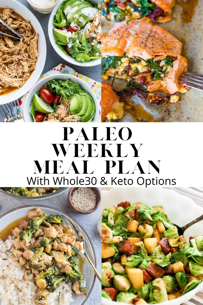 Paleo Weekly Meal Plan - a nutritious meal plan that focuses on whole foods and easy recipes that can be made quickly and easily. Meal plan comes with a grocery list!