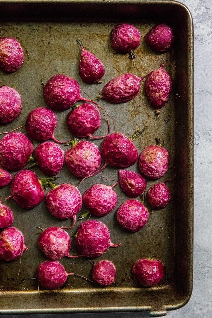 Roast radishes cut-side down