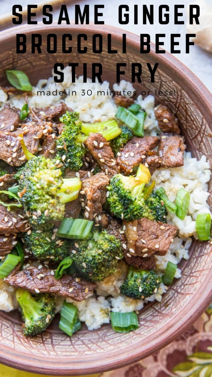 30-Minute Broccoli Beef Recipe with sesame, garlic, and ginger - made in 30 minutes or less with few ingredients, this is an easy meal to make any night of the week!