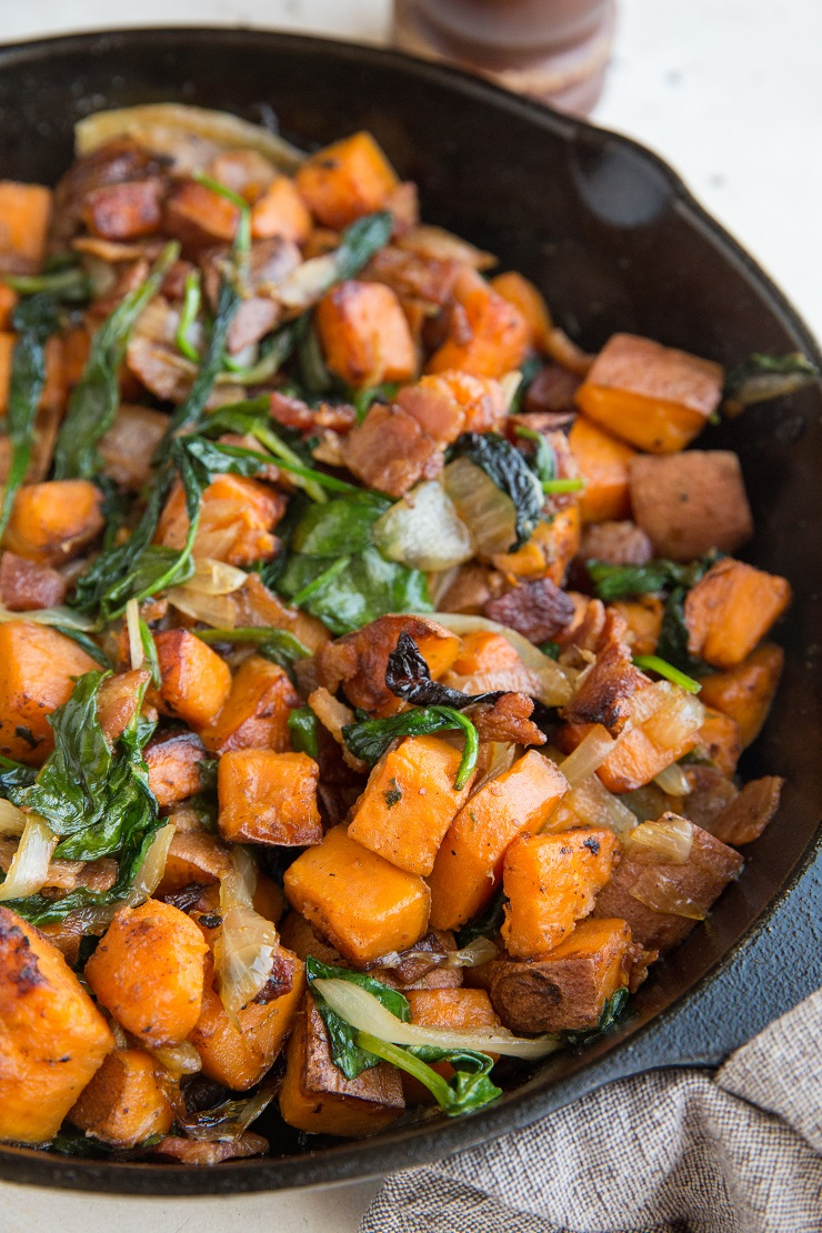 Easy Sweet Potato Hash Recipe with onions, bacon, and spinach