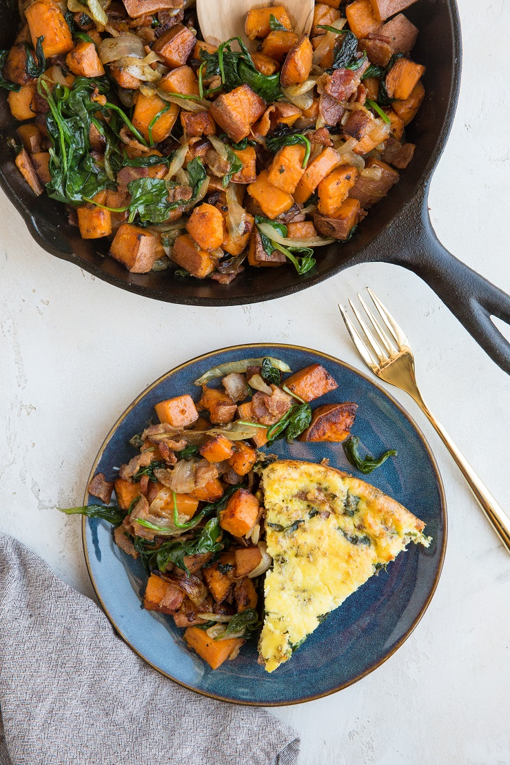 Sweet Potato Hash with spinach and bacon. An easy side dish to level up your breakfast or brunch!