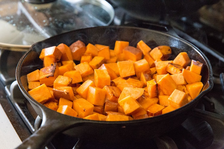Cook the sweet potatoes in cast iron until crispy.