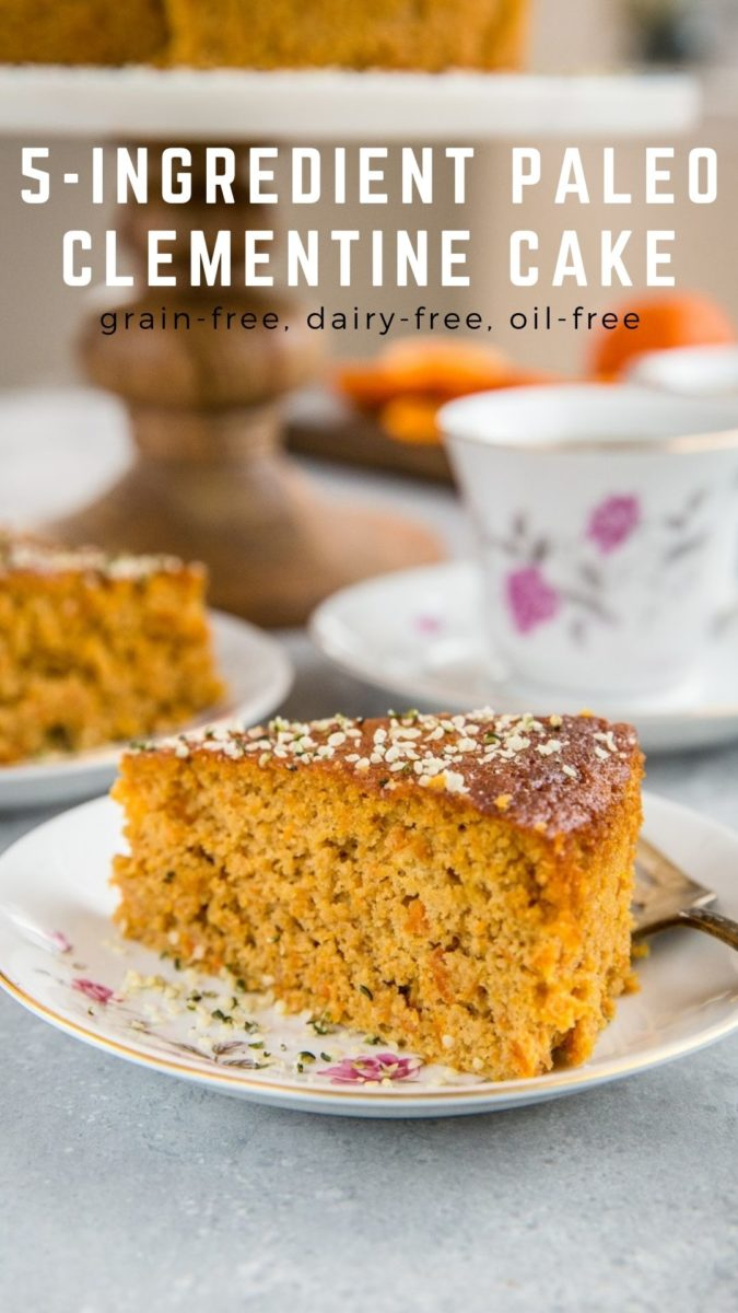 Paleo Clementine Cake made with only 5 ingredients! Grain-free, dairy-free, oil-free, and perfect for serving at brunch.