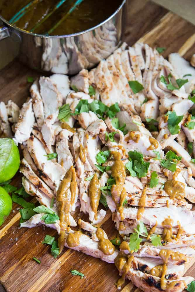Easy Thai Grilled Chicken with Peanut Sauce - paleo, whole30, low-carb