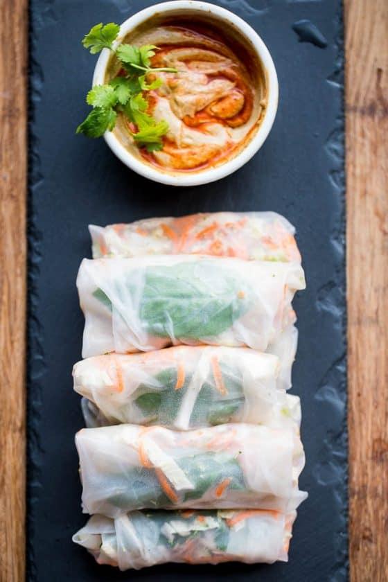 Thai Chicken Spring Rolls with Spicy Peanut Sauce - paleo, delicious!