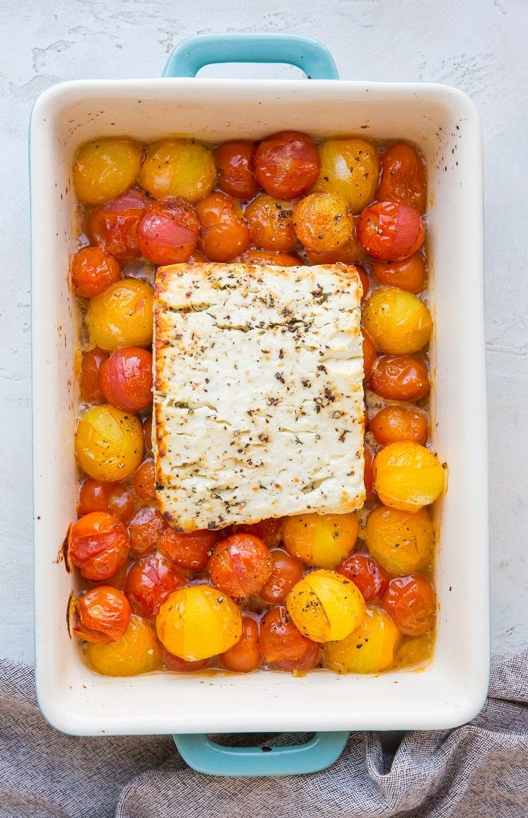Bake until the tomatoes burst and are juicy