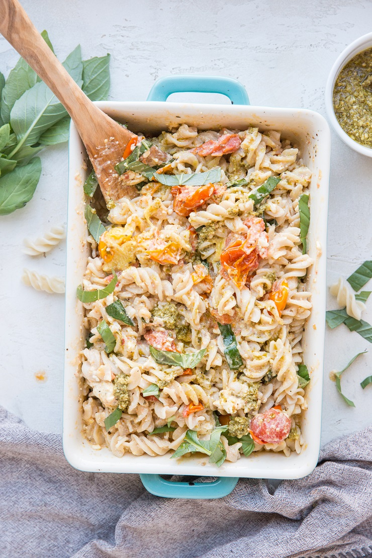 Baked Feta Pasta with gluten-free pasta noodles and pesto sauce. A changeup from the baked feta pasta from TikTok and Instagram