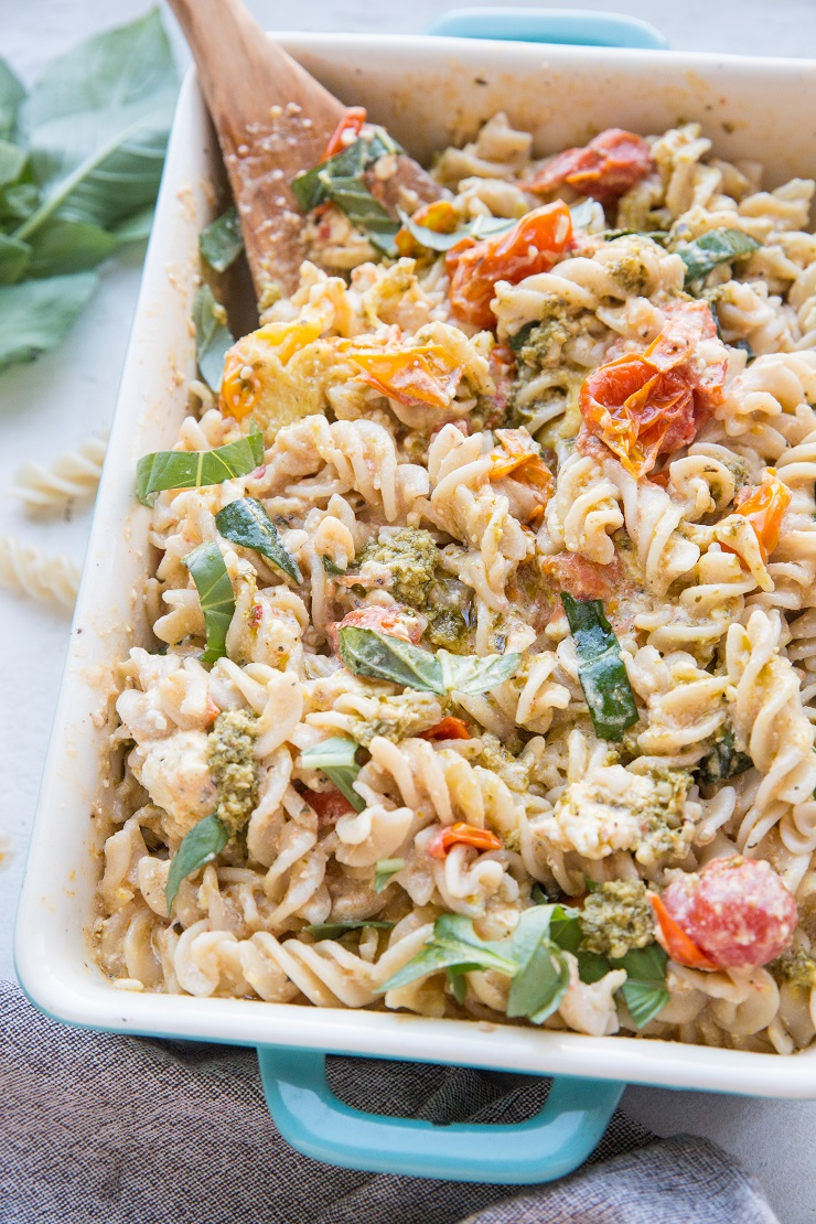 Baked Feta Pasta with pesto sauce and gluten-free noodles. That pasta recipe from TikTok and Instagram that broke the internet