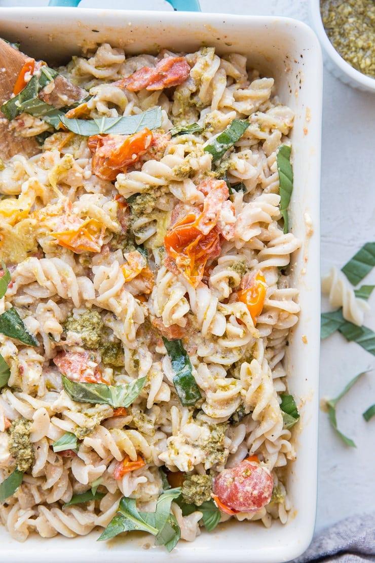 Baked Feta Pasta with Pesto Sauce - gluten-free delicious pasta recipe. How to make that baked feta from TikTok and Instagram.